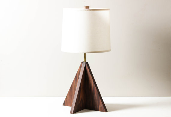 Geometric modern walnut arrow lamp