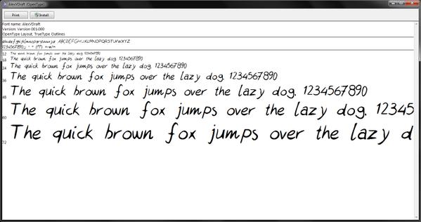 handwriting font on computer